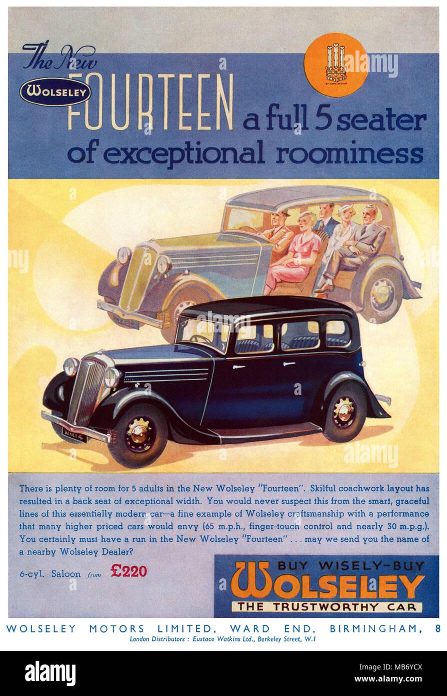 1935 British advertisement for the Wolseley Fourteen motor car. - Stock Image