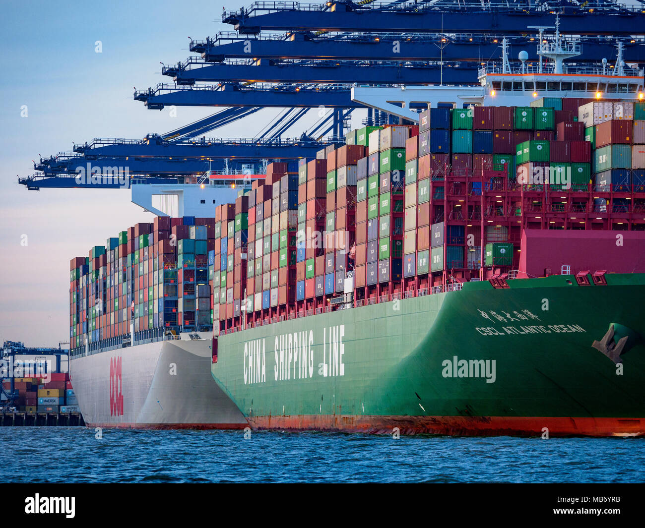 World Trade - Large Container Ships loading and unloading containers at the Port of Felixstowe, the UK's largest container port. - Stock Image