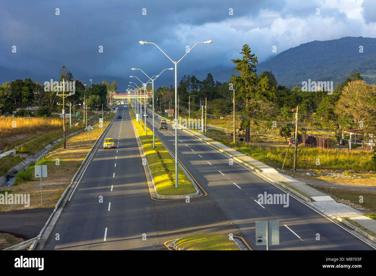 Recently doubled 40km  four-lane highway from Boquete to David, Panama - Stock Image