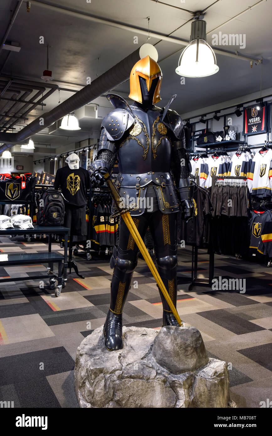The Arsenal, the Golden Knights Hockey Team retail outlet store front at City National Arena in Las Vegas, Nevada. - Stock Image
