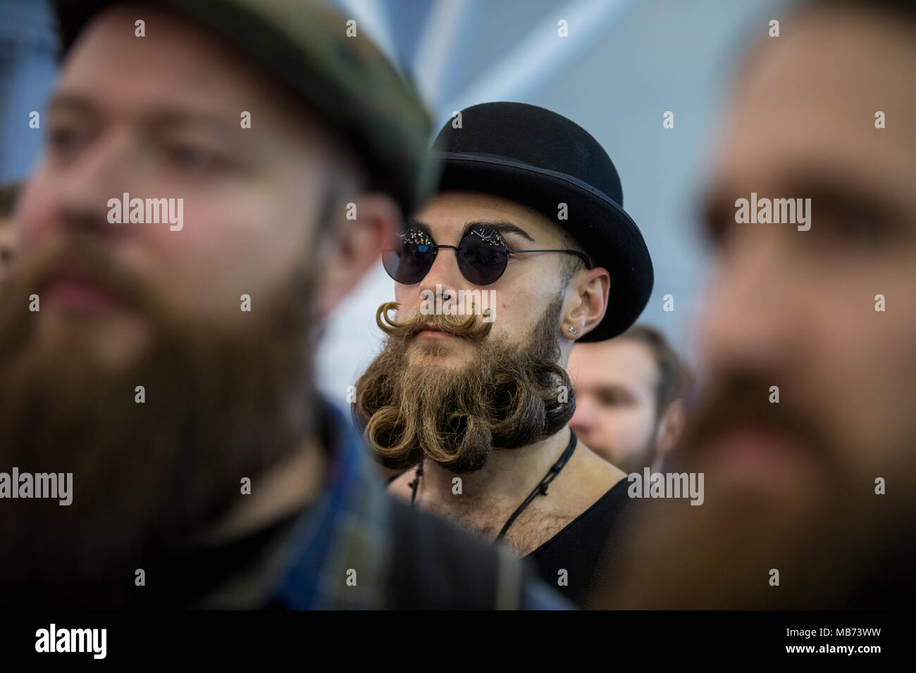 Moscow, Russia. 7th April, 2018. The 6th Annual Russian Beard & Moustache Championships held in Moscow, Russia Credit: Nikolay Vinokurov/Alamy Live News - Stock Image
