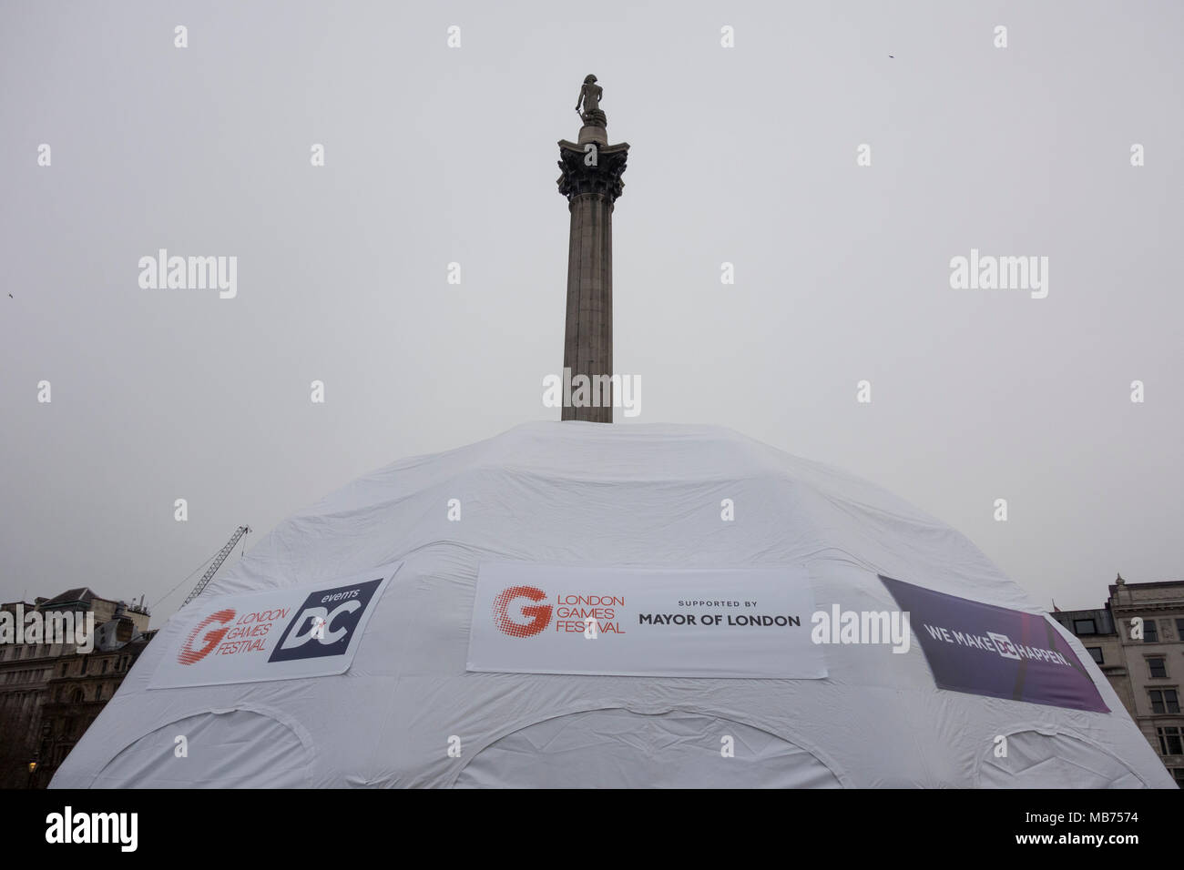 London, UK, 7th April 2018. As part of the London Games Festival, Trafalgar Square was transformed for the day into a games arena featuring traditional and augmented reality games. ©Benjamin John /Alamy Live News - Stock Image