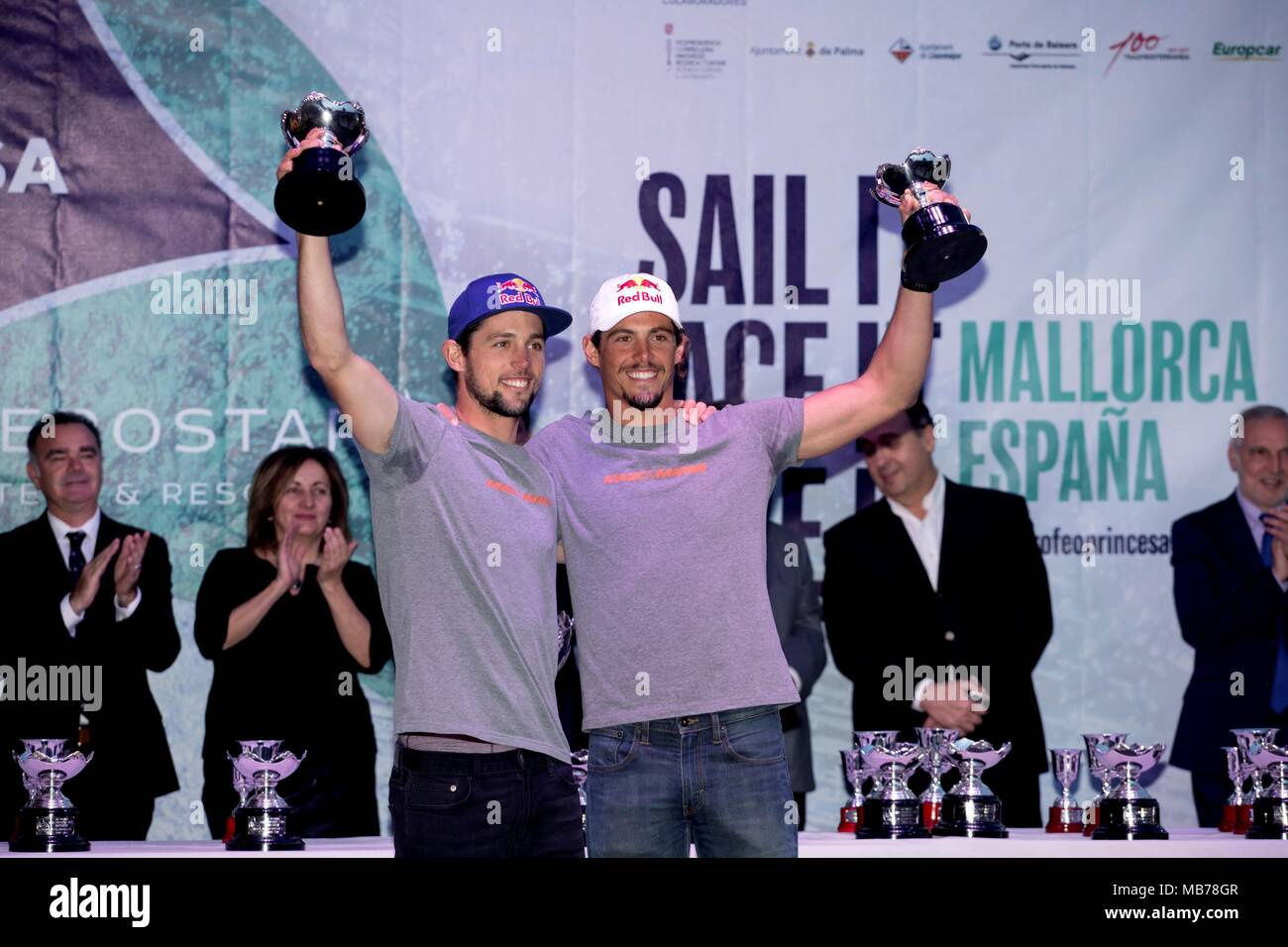 Winners in the 49er category, Argentinians Yago Lange (L) and Klaus Lange, pose during the 49th Princess Sofia Sailing Trophy awarding ceremony at Palma's Bay in Majorca, Spain, 07 April 2018. EFE/Lliteres - Stock Image