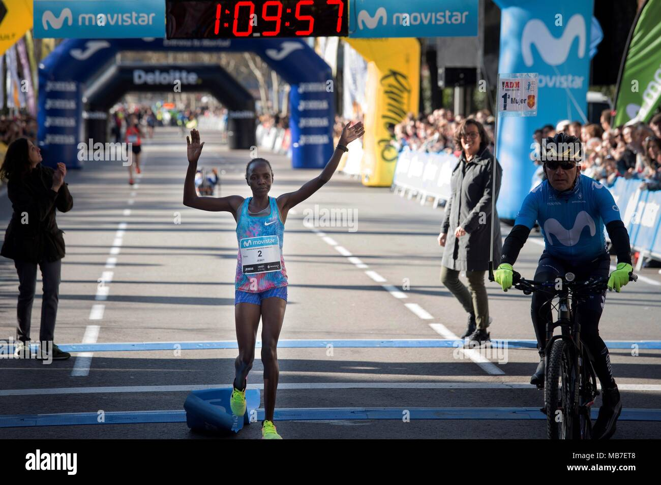Half Marathon Calendar.Madrid Spain 08th Apr 2018 Kenyan Naomi Jebet Celebrates After