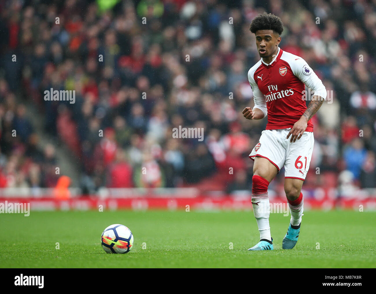 London, UK. 8th April, 2018.  Reiss Nelson of Arsenal during the Premier League match between Arsenal and Southampton at Emirates Stadium on April 8th 2018 in London, England. (Photo by Arron Gent/phcimages.com) Credit: PHC Images/Alamy Live News Stock Photo