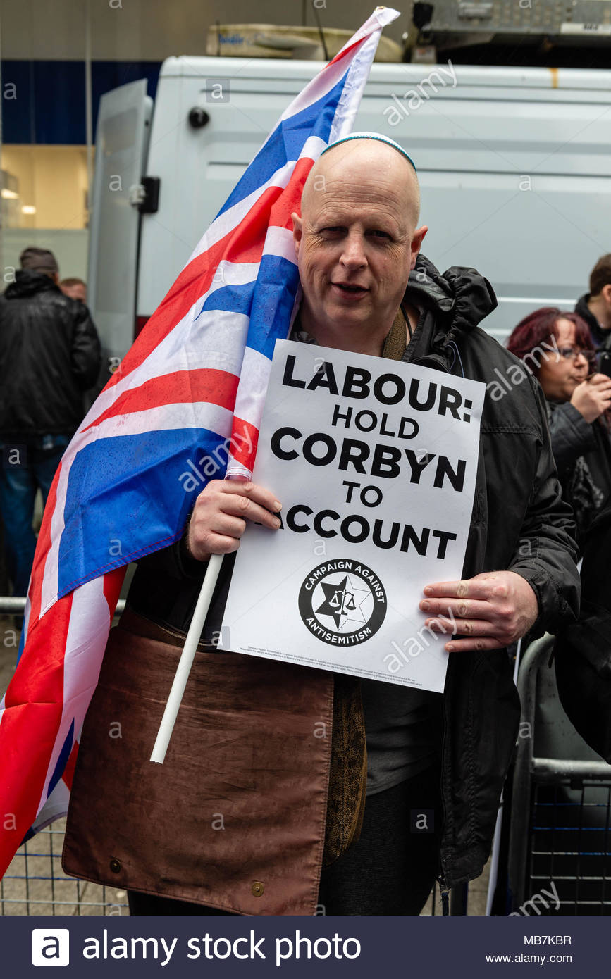 London, Great Britain, 08 April, 2018. Hundreds of the UK's Jewish community and allies protested outside the Labour Party offices over the AntiSemitic crisis within the party and the4 lack of action to combat it. David Nash/Alamy Live News - Stock Image