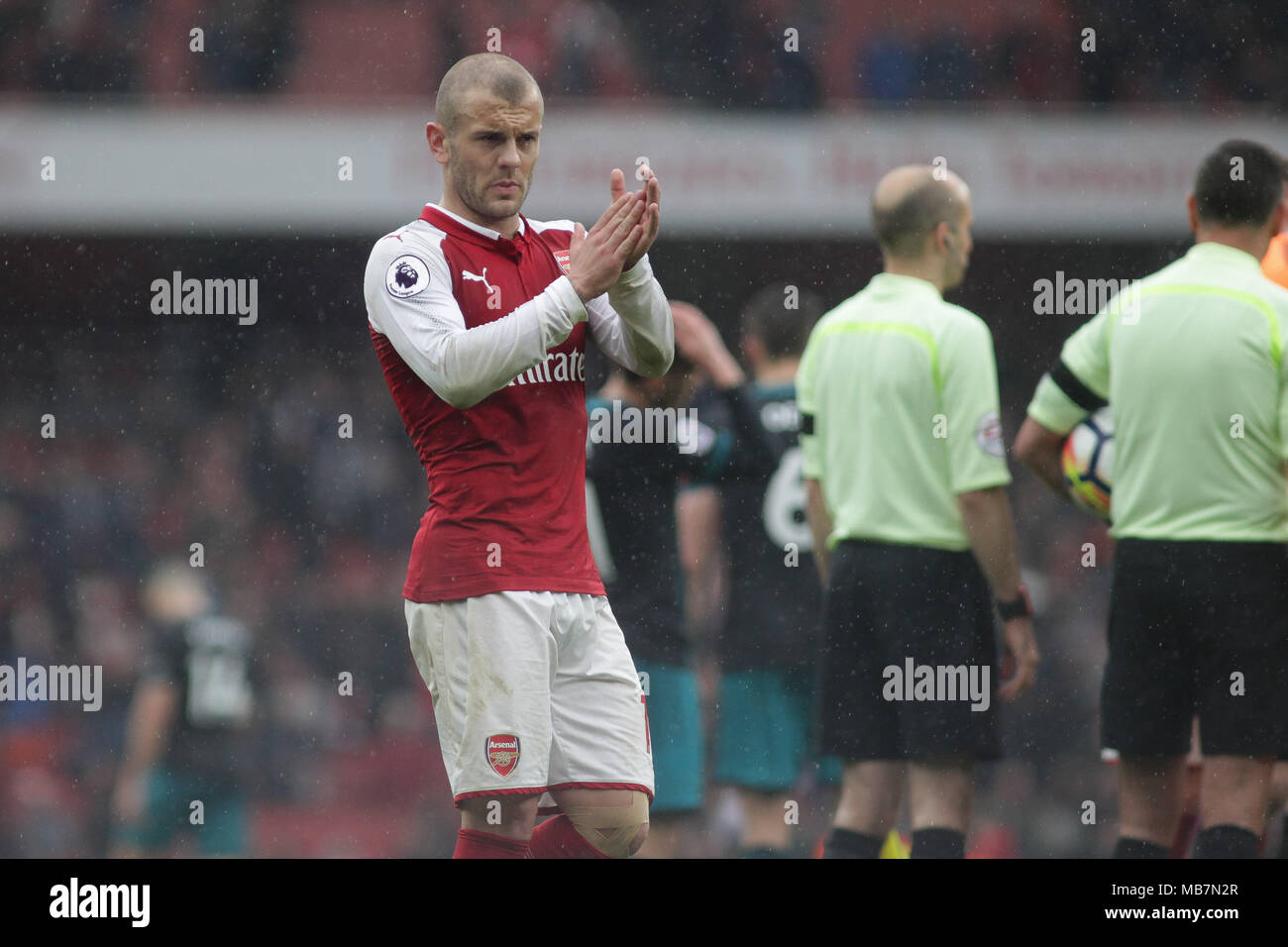 London, UK. 8th April, 2018. Jack Wilshere of Arsenal applauds the fans.  Premier league match, Arsenal v Southampton at the Emirates stadium in London on Sunday 8th April 2018.  this image may only be used for Editorial purposes. Editorial use only, license required for commercial use. No use in betting, games or a single club/league/player publications. pic by Kieran Clarke/Andrew Orchard sports photography/Alamy Live news - Stock Image