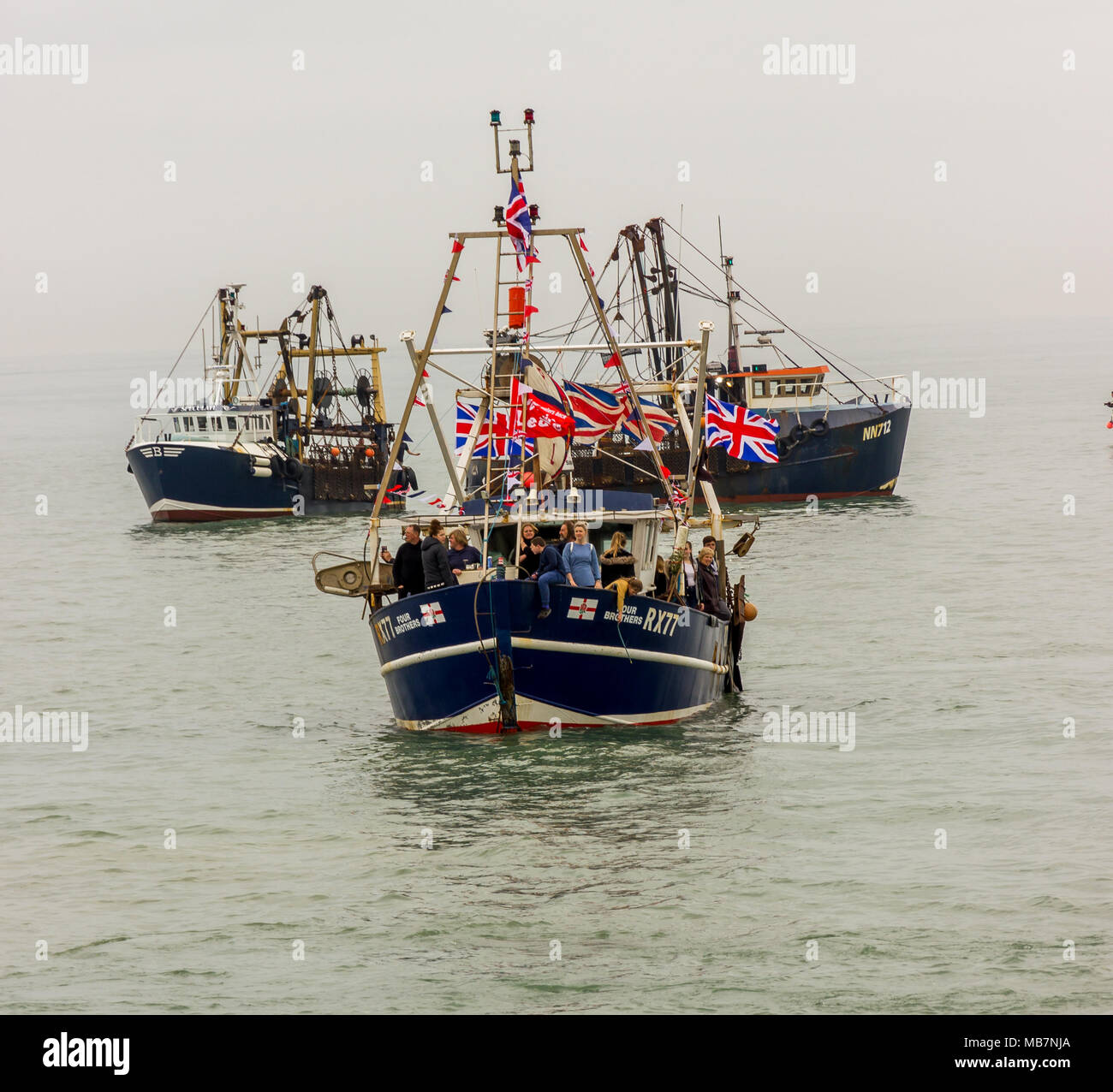 Hasting, East Sussex, UK. 8th April 2018. Fisherman from the South Coast fishing ports of Hastings, Newhaven, Rye and Eastbourne gather at Hastings to protest at the Governments decision not to take back full control of British waters when the UK leaves the EU next year. The Department for Environment, Food and Rural Affairs said it believed a transition deal until 2021 would safeguard fishing communities. Credit: Alan Fraser - Stock Image