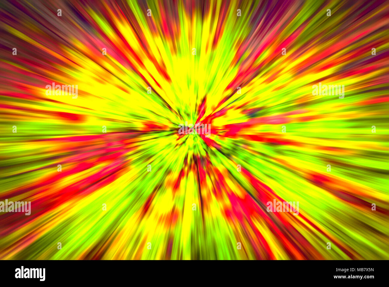 Psychedelic Hypnotic Unrealistic Abstract Speedy Yellow Green Red Background, motion blur effect, zoom motion blur. - Stock Image