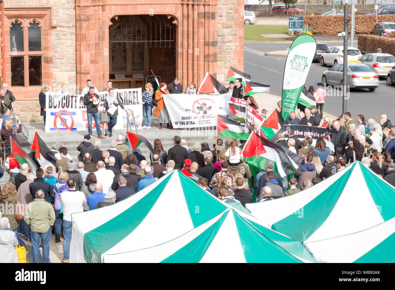 IRELAND PALESTINE SOLIDARITY CAMPAIGN Rally in  Derry/Londonderry  - Solidarity with Murdered Land Day Protesters in Gaza - Stock Image