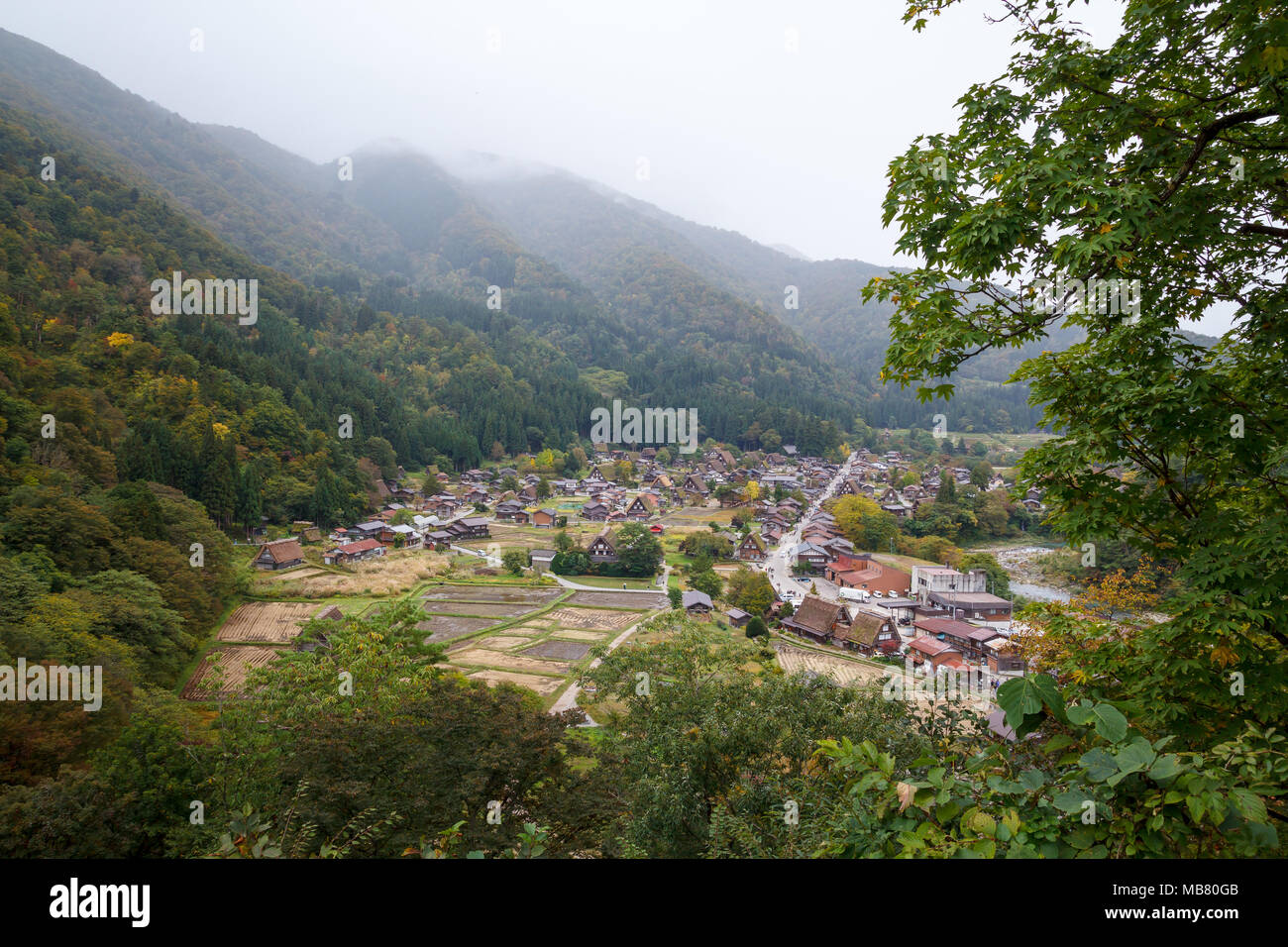Shirakawa-go village in Gifu prefecture, Japan. It is one of UNESCO's World Heritage Sites. - Stock Image