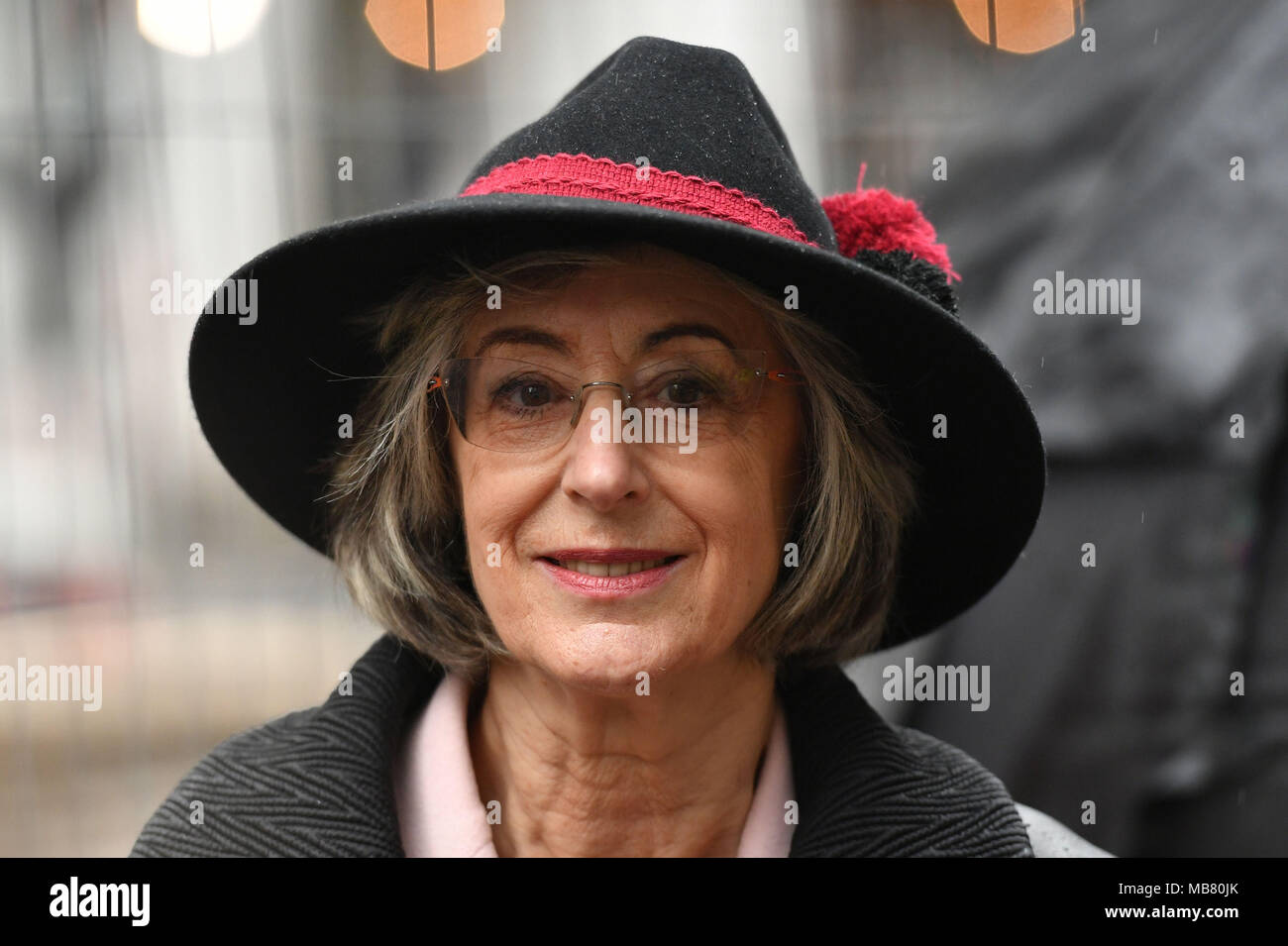 Maureen Lipman speaking at a demonstration organised by the Campaign Against Antisemitism outside the Labour Party headquarters in central London, against alleged prejudice in the Labour Party, amid a row over the party's handling of claims of anti-semitism. - Stock Image
