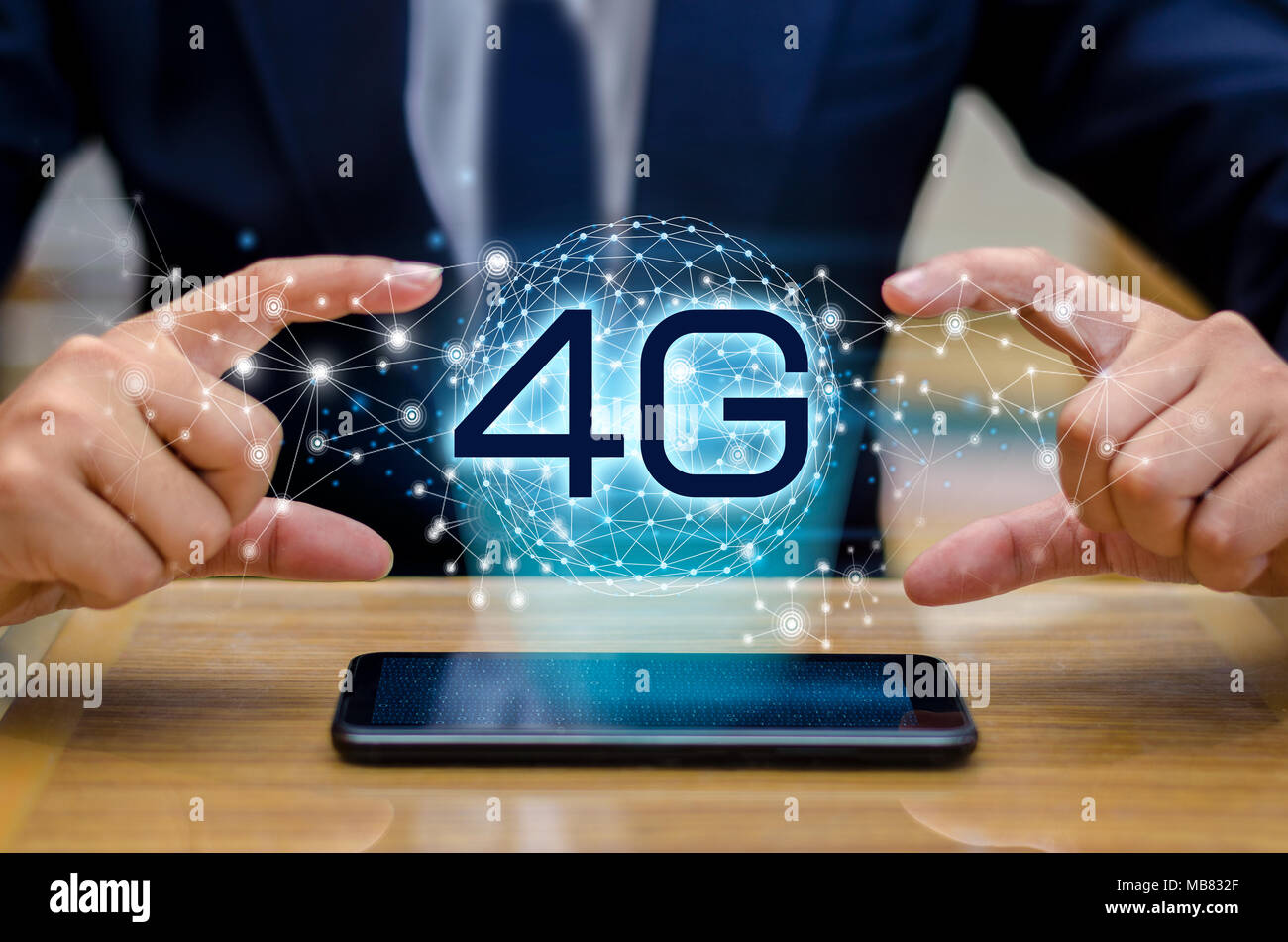 phone 4g Earth businessman connect worldwide waiter hand holding an empty digital tablet with smart and 4G network connection concept - Stock Image
