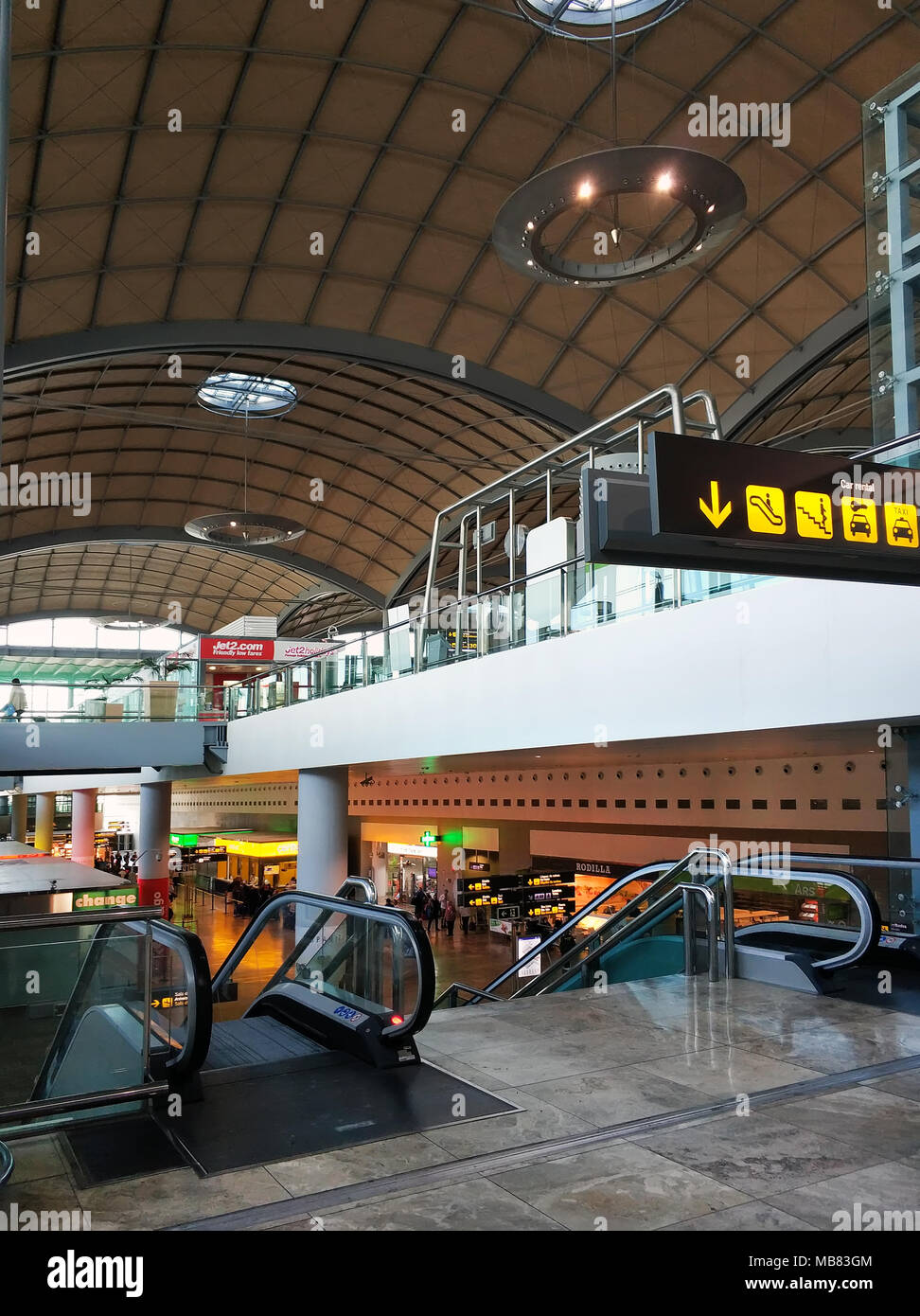 Alicante, Spain - April 03, 2018: Terminal interior area for arrival travel passenger in the airport of Alicante. Spain - Stock Image