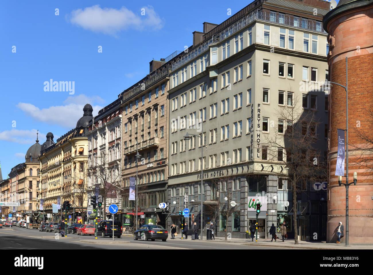 Vasagatan, major street in central Stockholm named after King Gustav Vasa Stock Photo
