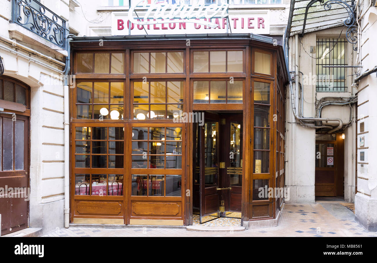 Entrance of the Bouillon Chartier - historic restaurant founded in a former train station in 1896, classified as monument, Paris, France. - Stock Image