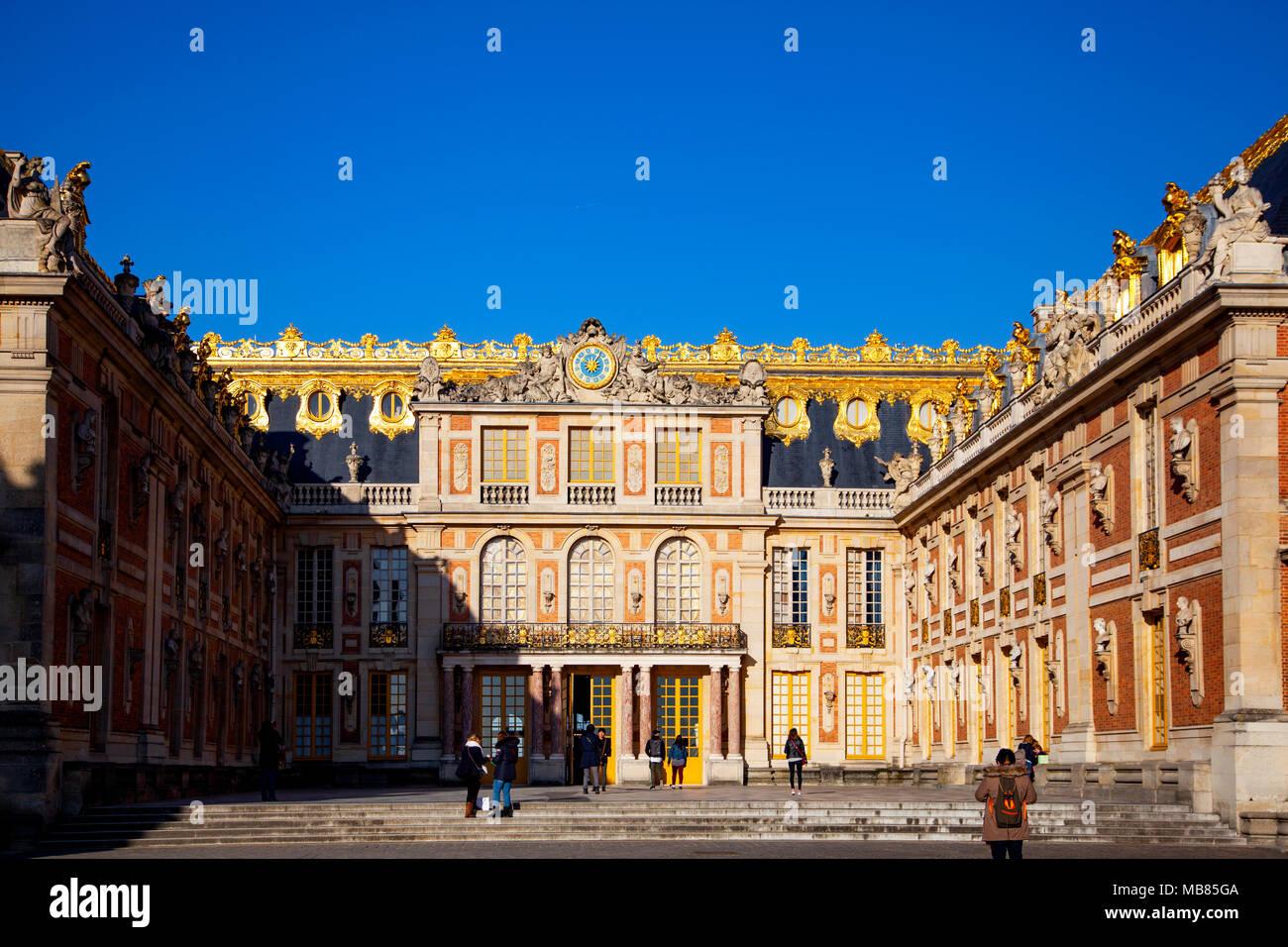 Chateau de Versailles (Palace of Versailles), a UNESCO World Heritage Site, France - frontal aspect - Stock Image