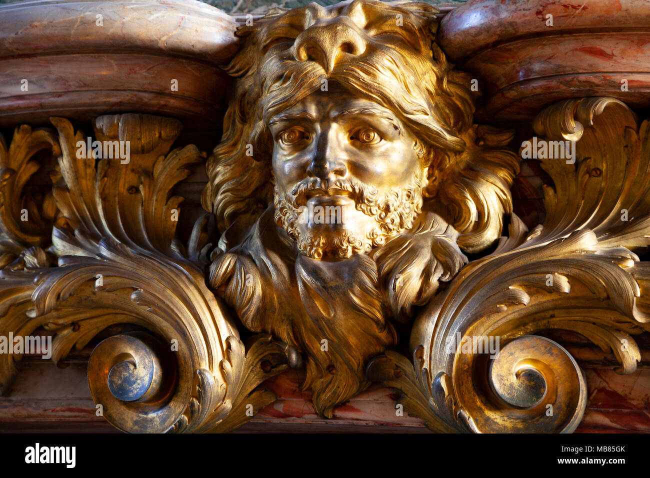 Chateau de Versailles (Palace of Versailles), a UNESCO World Heritage Site, France - detail of gilded  frieze on the interior on first floor - Stock Image