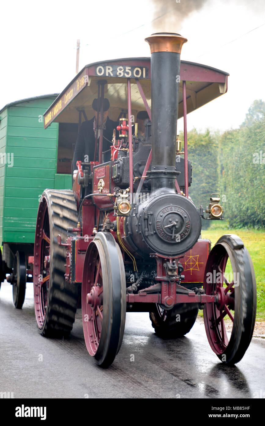 Ruston Steam Traction Engine Steaming along a road - Stock Image
