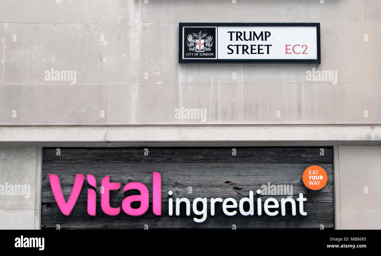 Vital ingredient restaurant sign on Trump Street in the City of London EC2 England UK  KATHY DEWITT - Stock Image