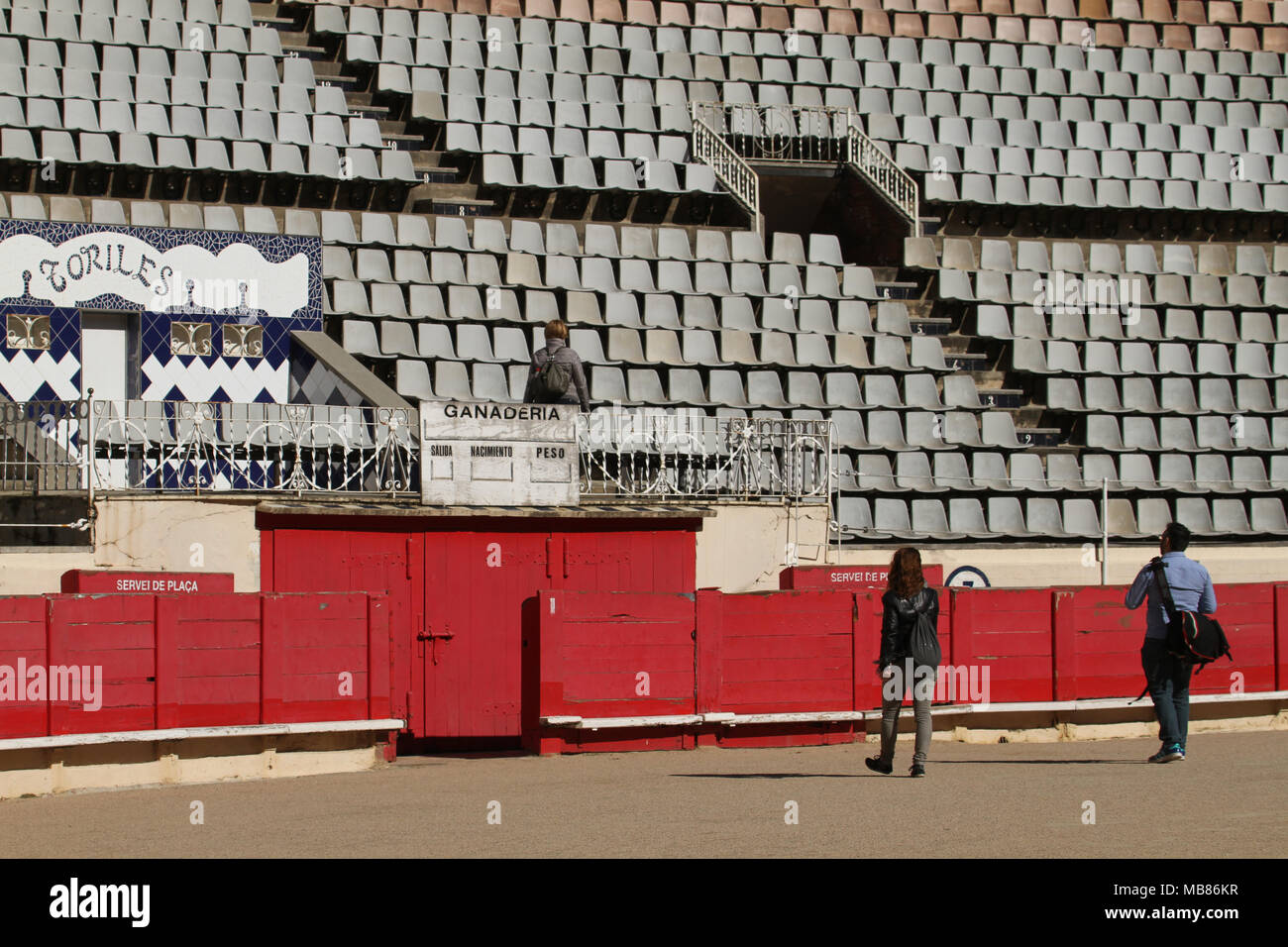 Barcelona, Spain -  31st March, 2018. Tourists seen in the arena at the La Monumental. This was the last bullfighting arena in commercial operation in Catalonia following a bullfights banning law on 28 July 2010. General view of Barcelona, Spain. @ David Mbiyu/Alamy Live News - Stock Image