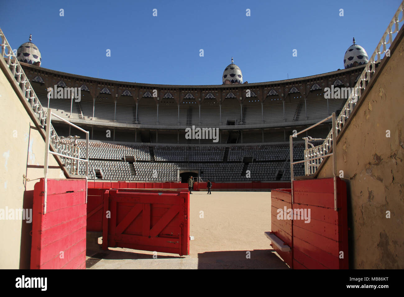 Barcelona, Spain -  31st March, 2018. Bull entrance gate at the La Monumental. This was the last bullfighting arena in commercial operation in Catalonia following a bullfights banning law on 28 July 2010. General view of Barcelona, Spain. @ David Mbiyu/Alamy Live News - Stock Image