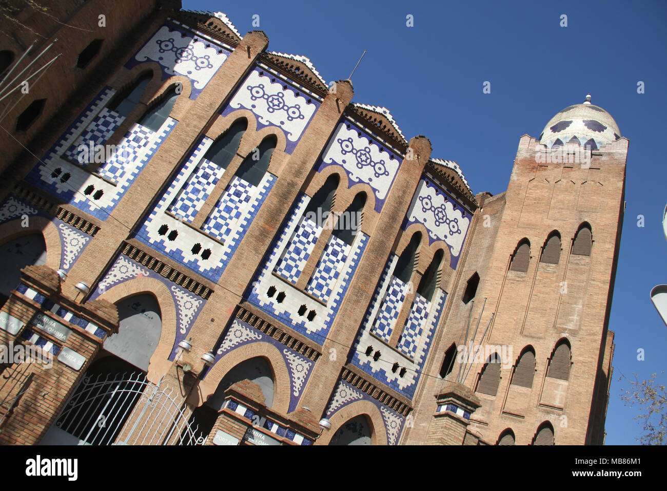 Barcelona, Spain -  31st March 2018. Outside facade of the La Monumental. This was the last bullfighting arena in commercial operation in Catalonia following bullfighting banning law on 28 July 2010. General view of Barcelona, Spain. @ David Mbiyu/Alamy Live News - Stock Image