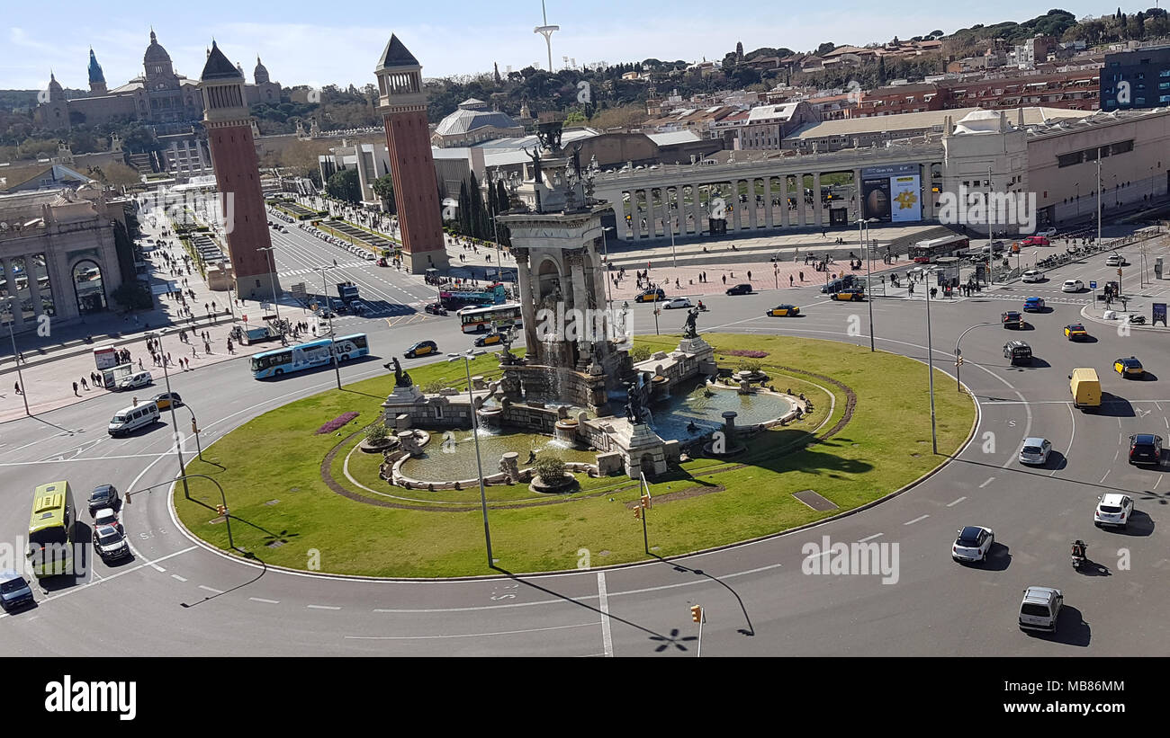 Barcelona, Spain -  30th March, 2018.  The place d'Espanya, Torres Venecianes ( the two pillars) and National Art Museum of Catalonia in the background as see from the Arenas de Barcelona. General view of Barcelona, Spain. @ David Mbiyu/Alamy Live News - Stock Image