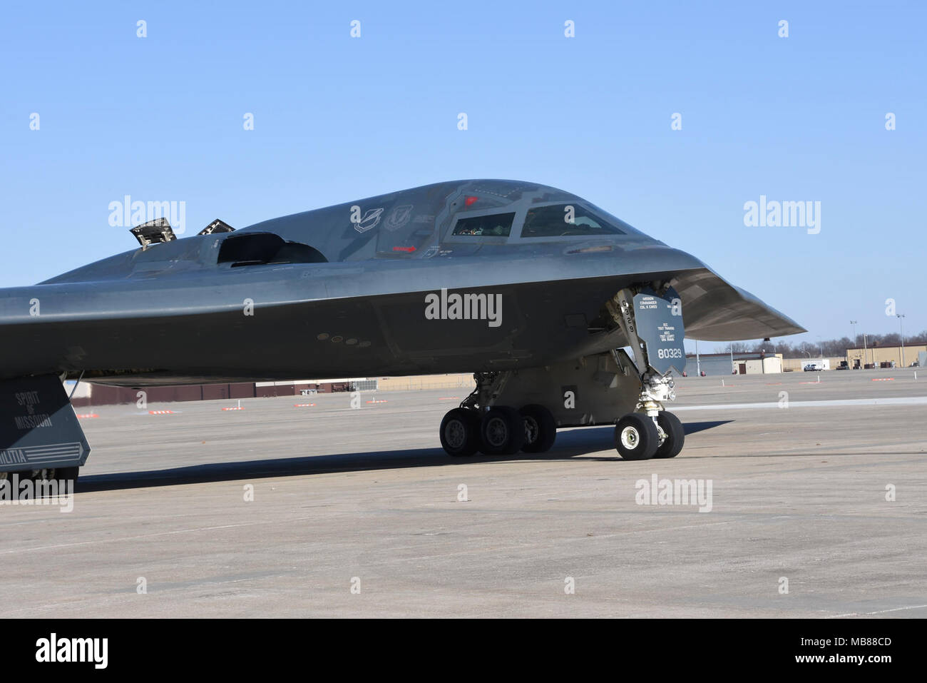 The Spirit of Missouri, the B-2 Flagship of the Missouri Air National Guard's 131st Bomb Wing, returns from a recent training mission, at Whiteman Air Force Base, Missouri, Feb 25, 2018. (U.S. Air National Guard Stock Photo