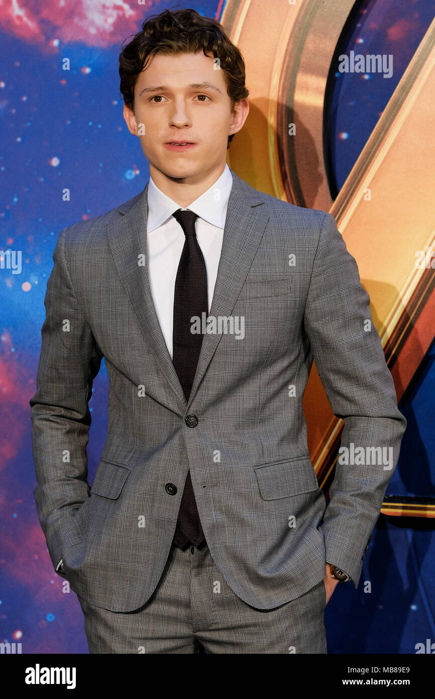 Tom Holland at UK Fan Event of AVENGERS: INFINTY WAR on Sunday 8 April 2018 held at London Television Studios, White City, London. Pictured: Tom Holland. - Stock Image