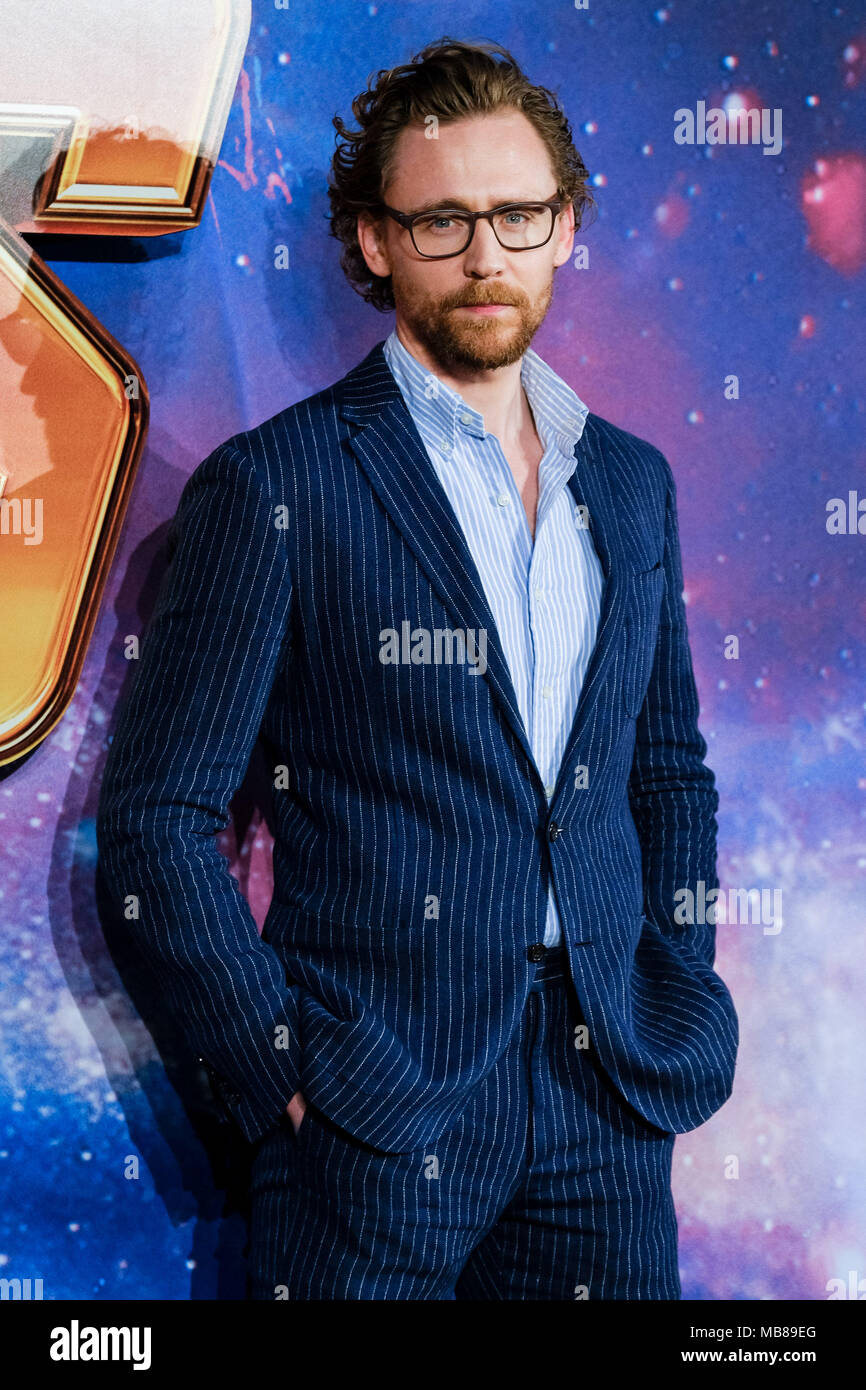 Tom Hiddleston at UK Fan Event of AVENGERS: INFINTY WAR on Sunday 8 April 2018 held at London Television Studios, White City, London. Pictured: Tom Hiddleston. - Stock Image