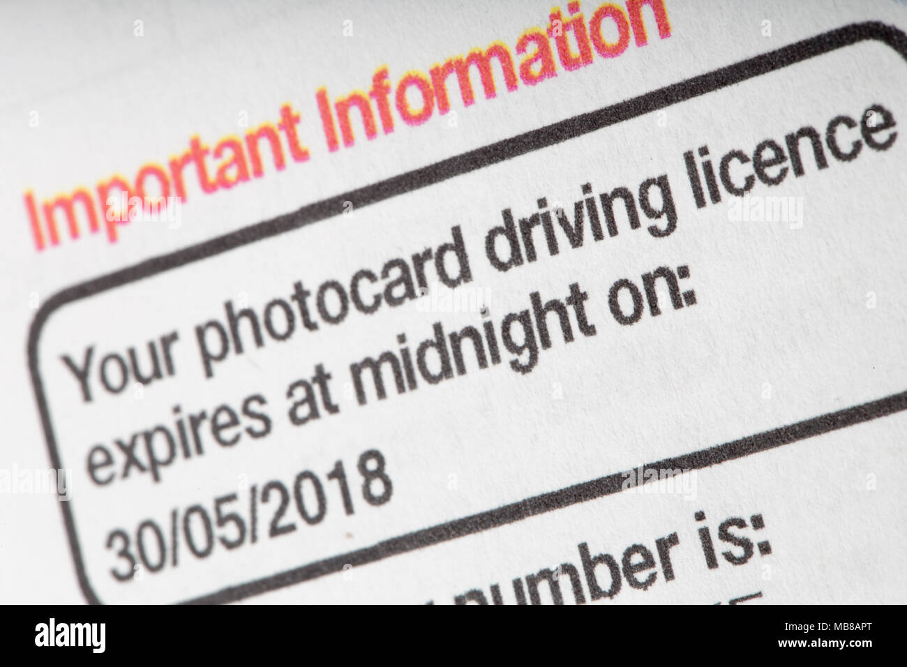 Reminder notice from the DVLA to renew a photocard driving licence. UK - Stock Image