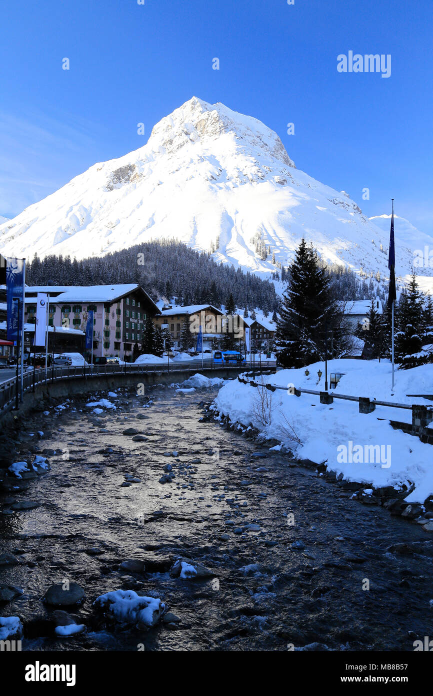 View of the town Lech am Arlberg, Alpine ski resort close to Zurs, St. Anton and Stuben in the Arlberg region of Austria. - Stock Image