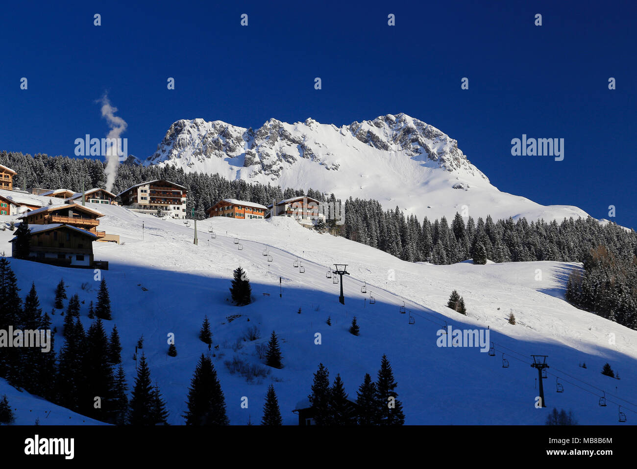 View of the town Lech am Arlberg, Alpine ski resort close to Zurs, St. Anton and Stuben in the Arlberg region of Austria. Stock Photo