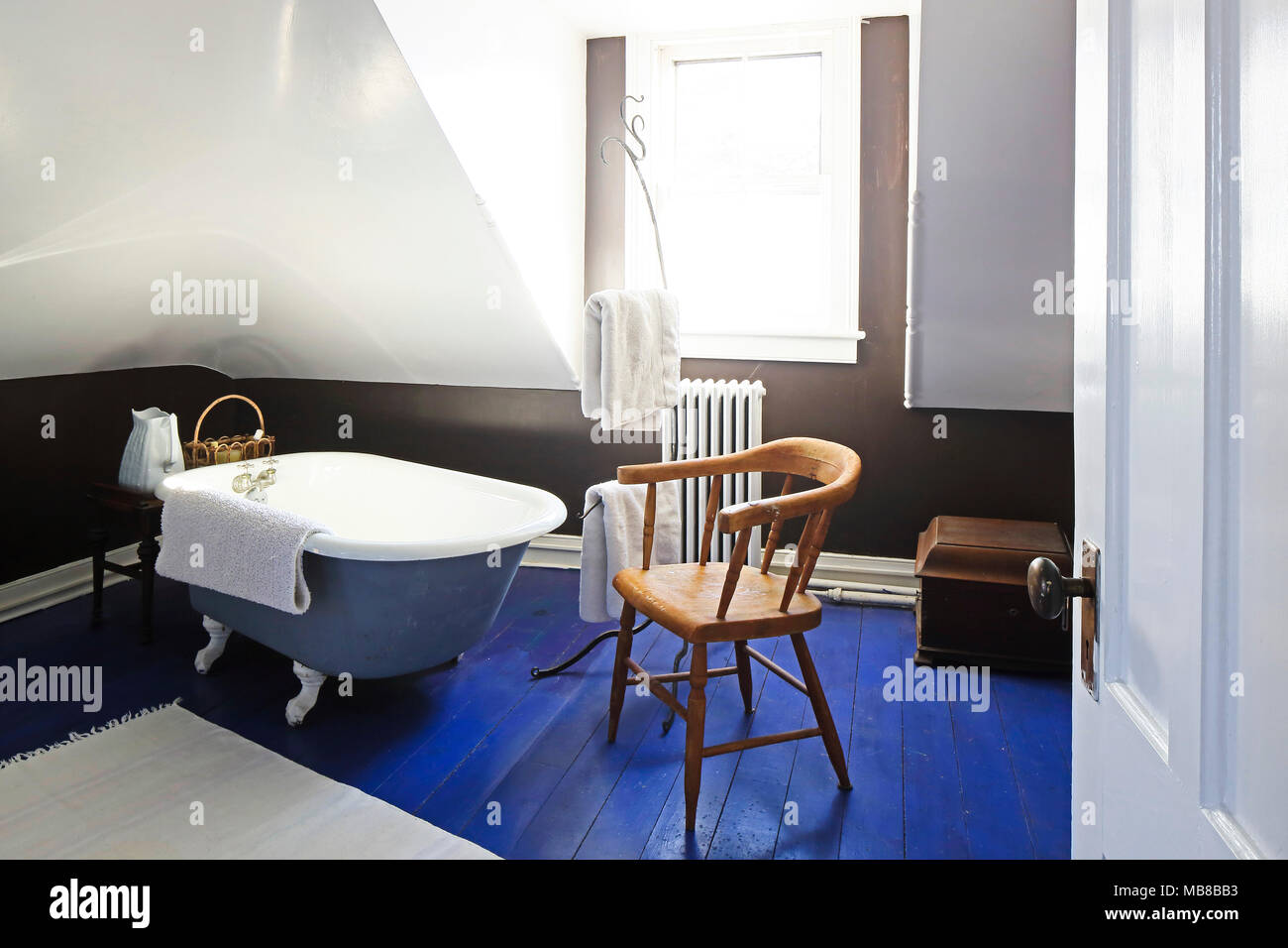 Bathroom with old fashioned tub. The A.L. Benedict House, Ridgefield ...