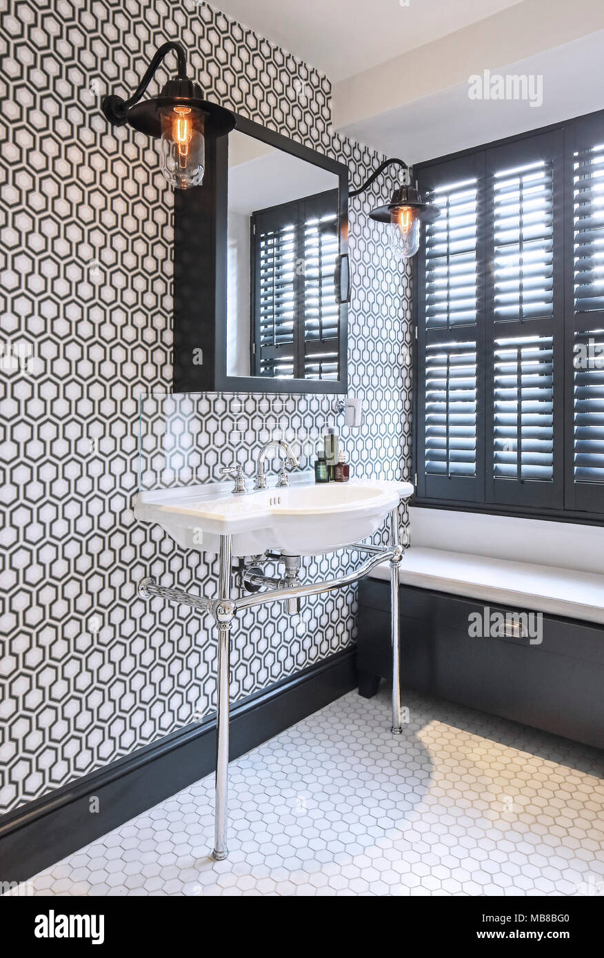 Bathroom Detail With Washbasin And Floor Tiles Private Residence