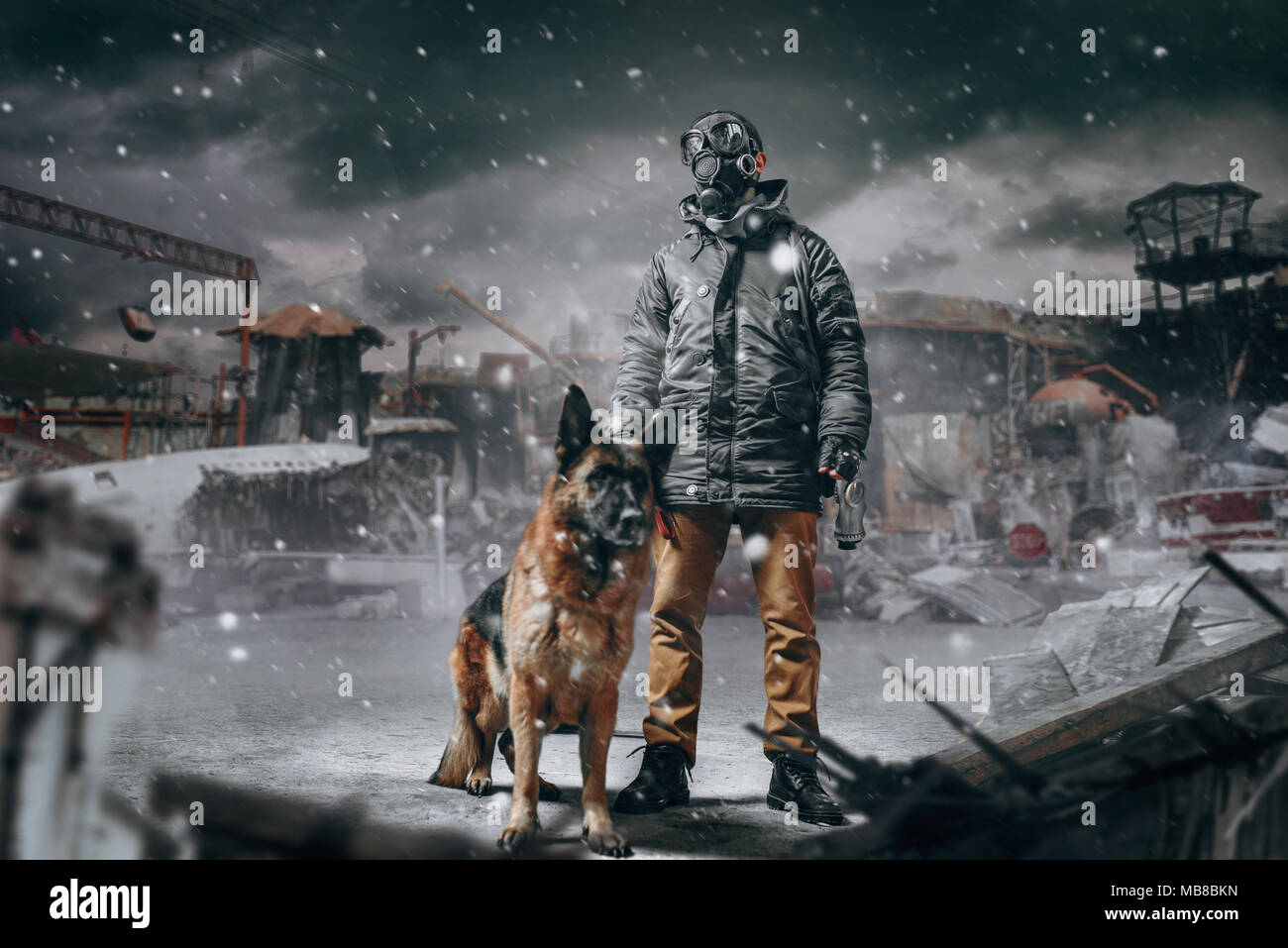 Stalker soldier in gas mask and dog against ruined buildings, radioactive zone, post apocalyptic world. Post-apocalypse lifestyle on ruins, doomsday,  Stock Photo