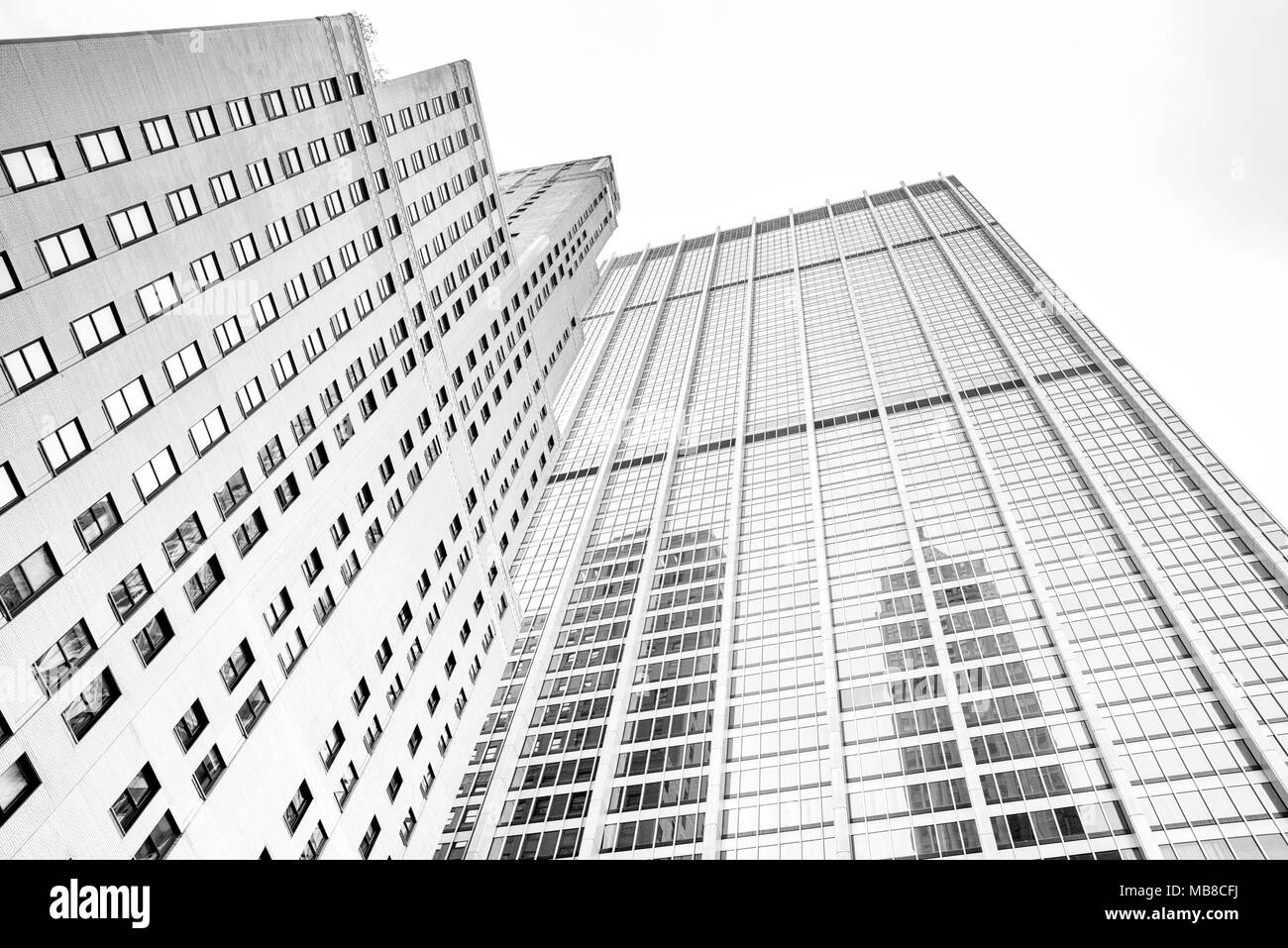 de6c1d84d95c two high rise buildings in NYC. Image is black and white Stock Photo ...