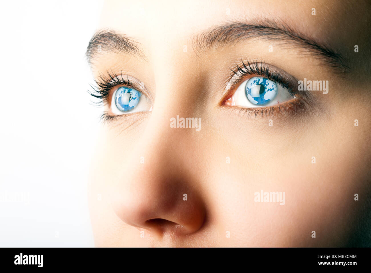 Close up of woman's eyes with world map superimposed Stock ... on eye earth, eye mind map, eye egypt, eye clock, home depot map, an old map,