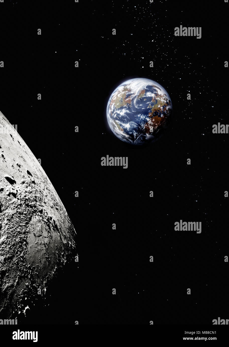 Planet earth from space with surface of the moon in foreground, North America and Europe visible - Stock Image