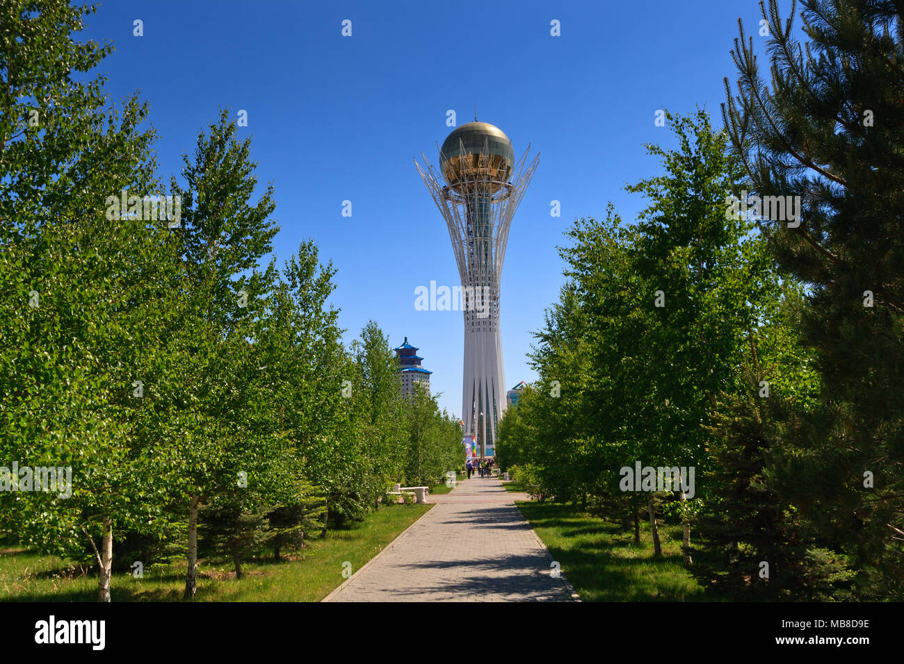 Bayterek Tower, a monument and observation tower in Astana, the capital city of Kazakhstan. Stock Photo