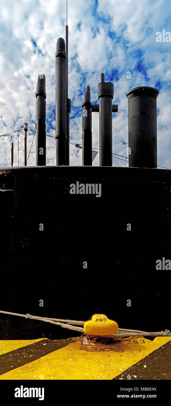 submarine at the harbor - Stock Image