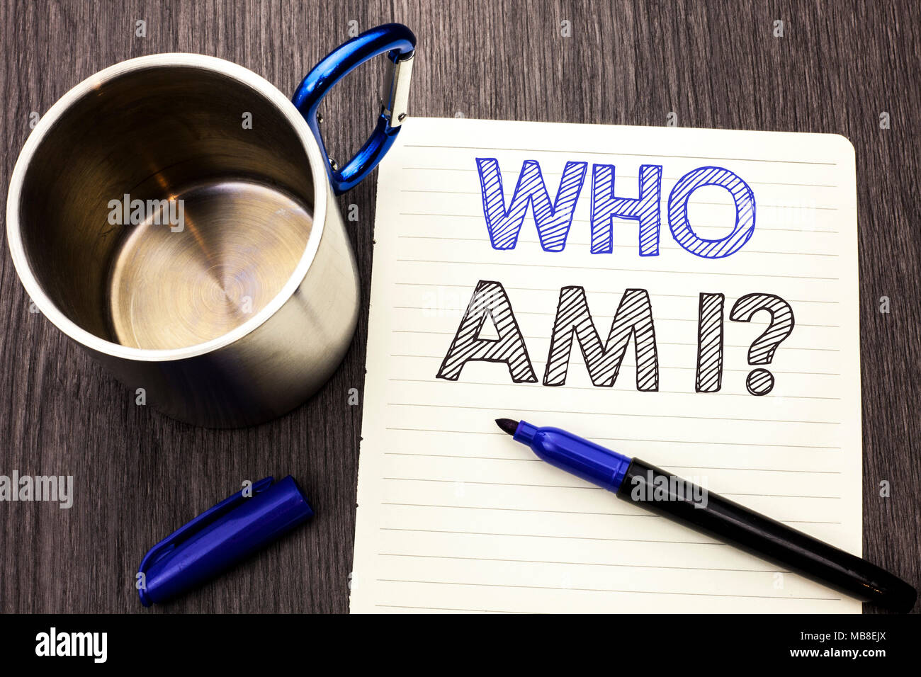 Conceptual hand writing showing Who Am I Question. Business photo showcasing Question Asked Identity Thinking Doubt Psycology Mystery written on Notebook Paper wooden background Marker and Cup - Stock Image