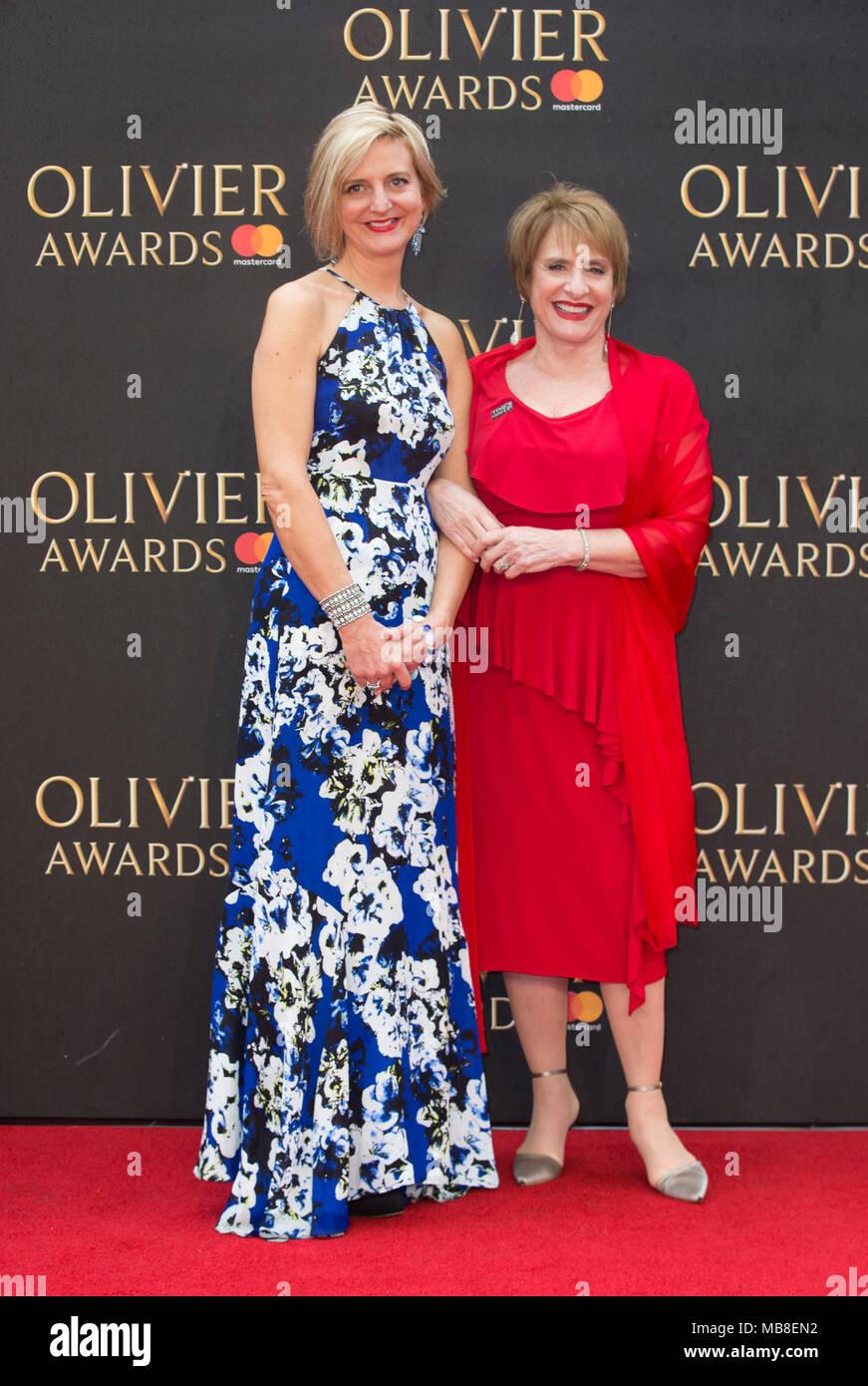 Marianne Elliott (left) arriving for The Olivier Awards at the Royal Albert Hall in London. - Stock Image