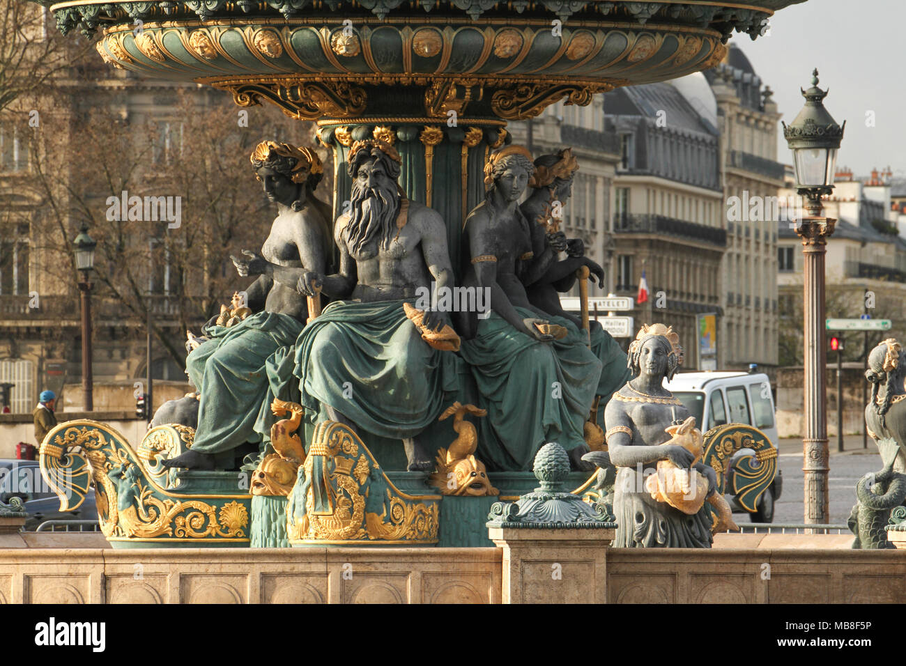 Paris, France -  04 April 2018. The Fontaines de la Concorde, one of two with the Obelisk of Luxor and Eiffel Tower seen on the background. General view of Paris, France. @ David Mbiyu/Alamy Live News - Stock Image