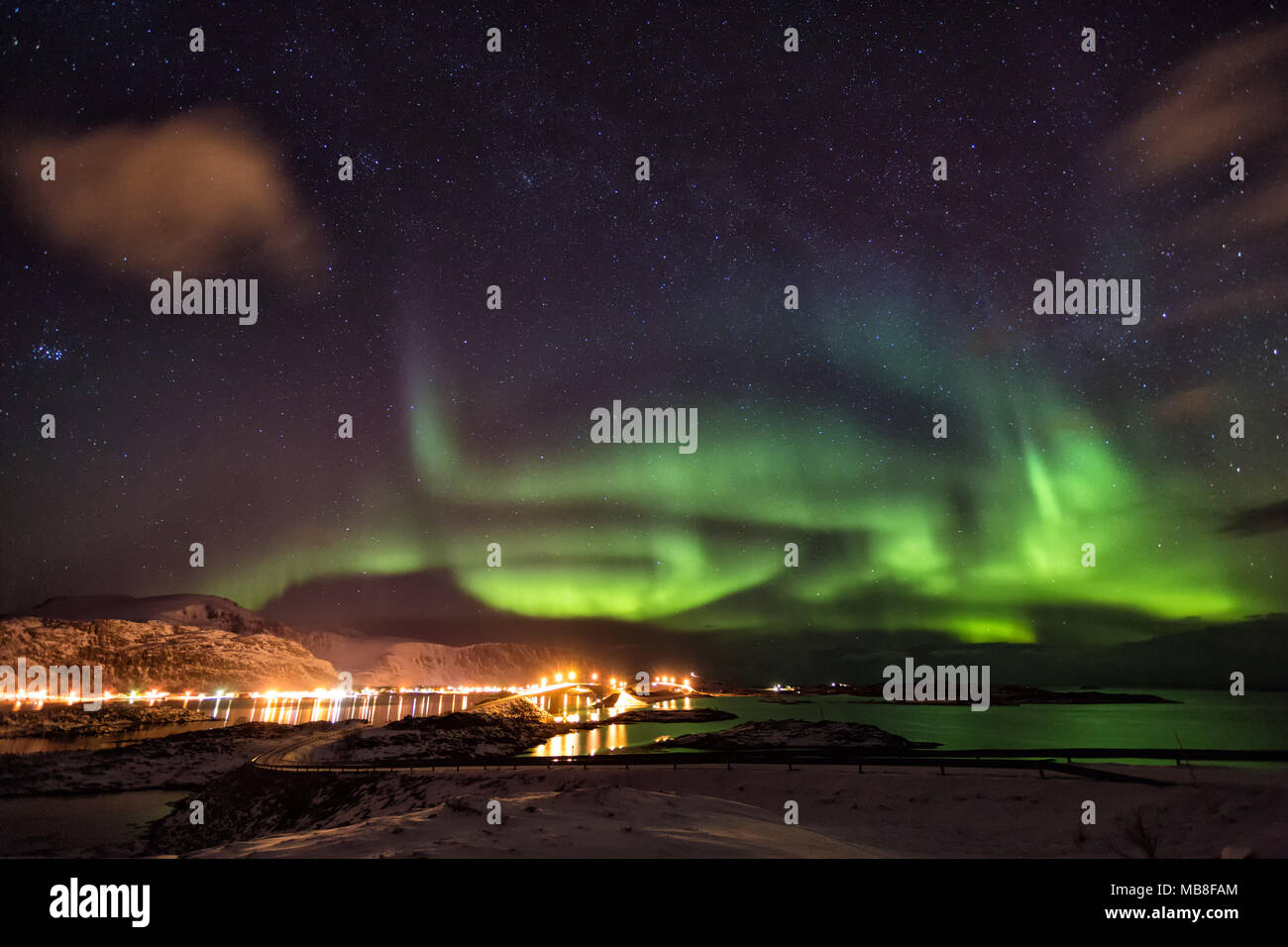 Lofoten Islands, Norway, 03-11-2018, seaside, fjord, aurora borealis - Stock Image