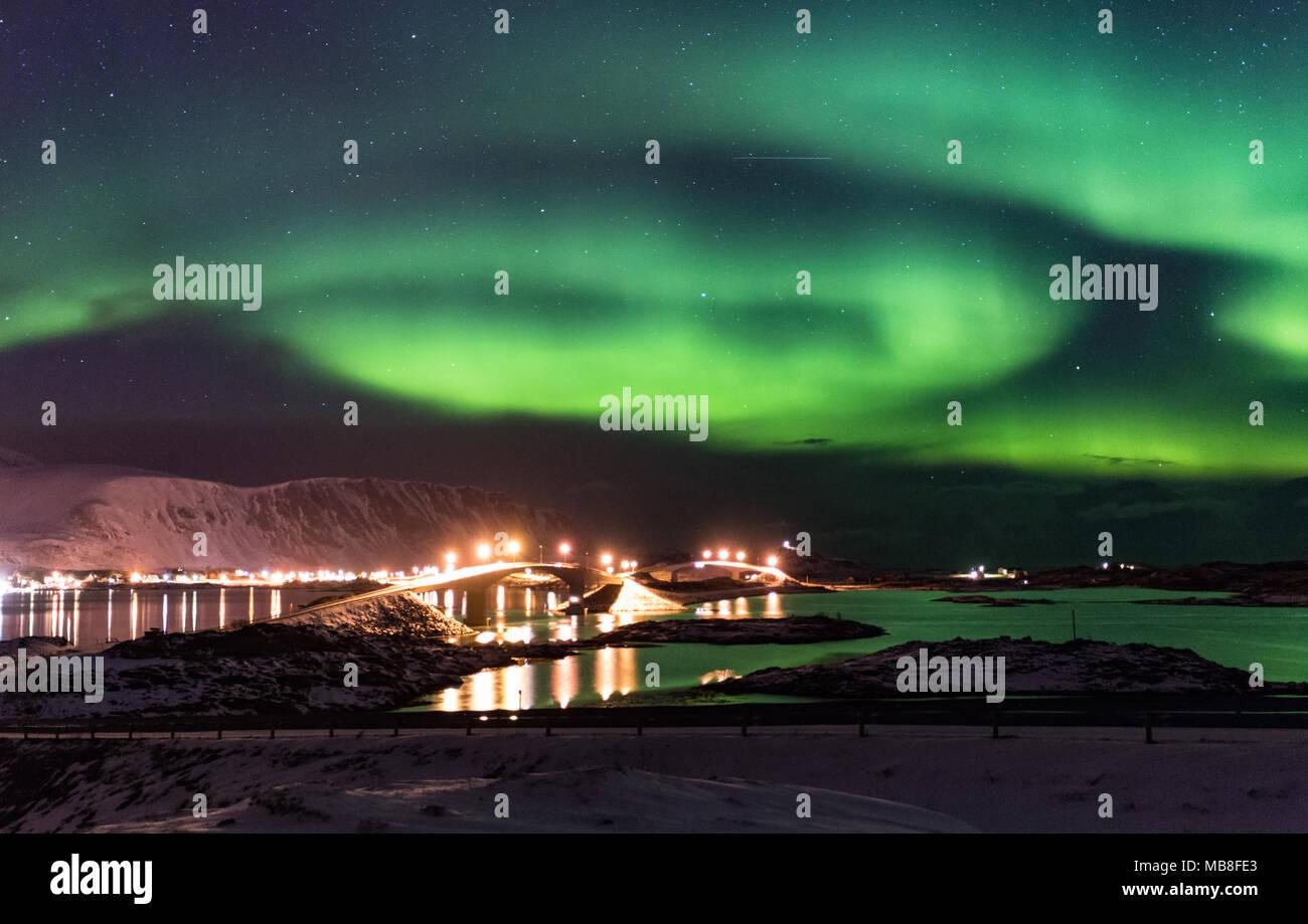 Lofoten Islands, Norway, 03-11-2018, seaside, fjord, aurora borealis - Stock Image