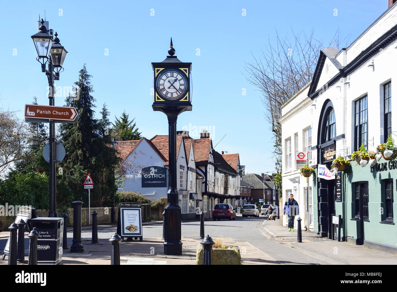 Ye Olde George and the Ostrich Inns, High Street, Colnbrook, Berkshire, England, United Kingdom - Stock Image