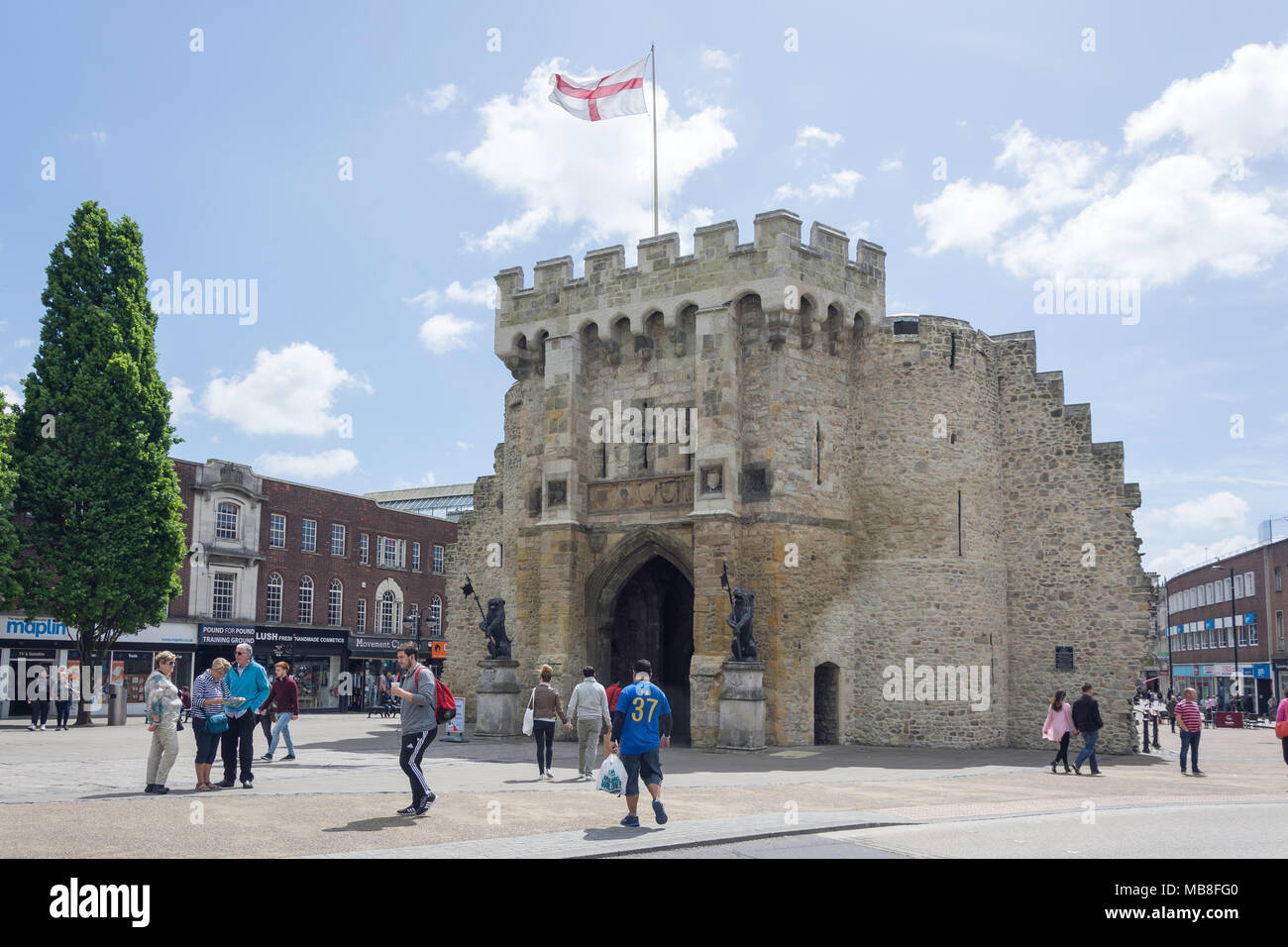 The 12th century Bargate from Above Bargate Street, Old Town, Southampton, Hampshire, England, United Kingdom - Stock Image