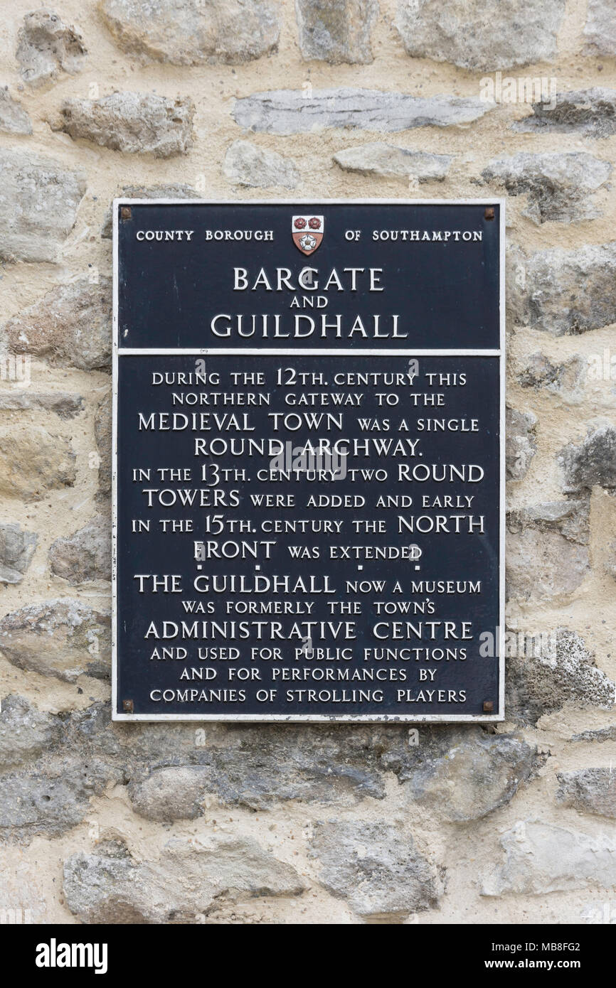The 12th century Bargate and Guildhall sign, Above Bargate Street, Old Town, Southampton, Hampshire, England, United Kingdom - Stock Image